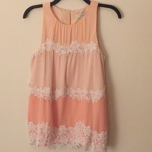 NWT Loft Peach Tank with Lace - Size Small